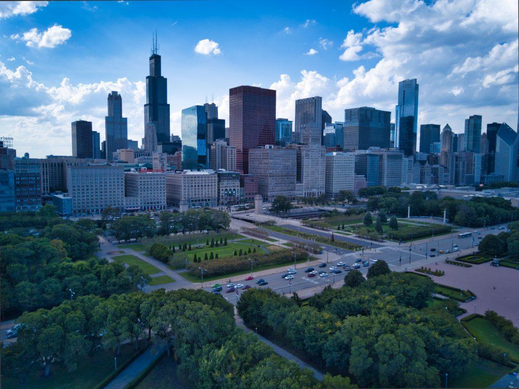 Grant Park Chicago Skyline Aerial, Copyright David Cardinal